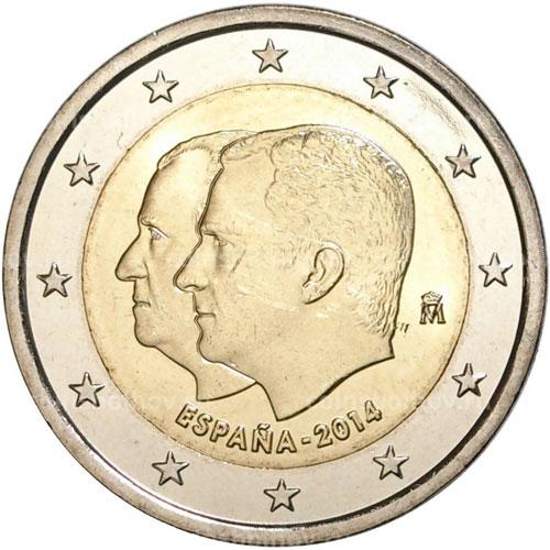 Аверс монеты с портретами короля Испании Филиппа VI и его отца Хуана Карлоса I Испания