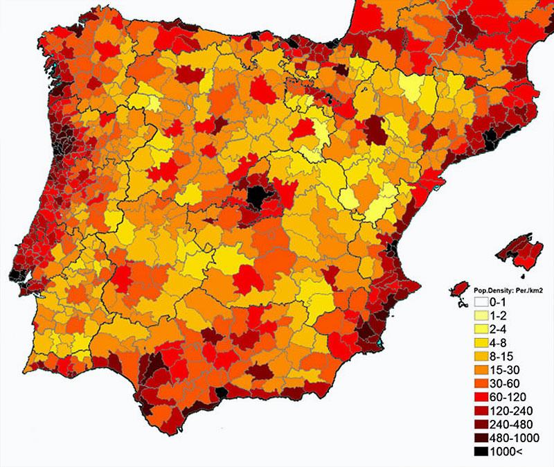 Карта плотности населения Испании