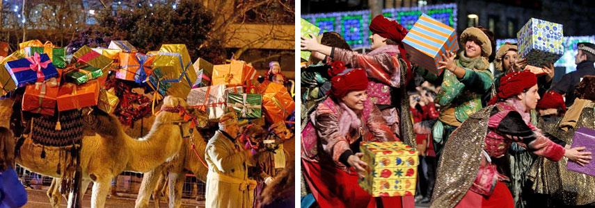Мельхиор, Бальтасар и Гаспар приносят детям подарки