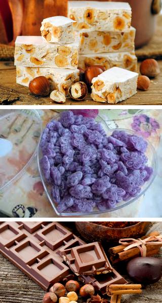 Туррон и Сладости из фиалок, шоколад