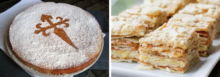пироги Tarta de Santiago и milhojas