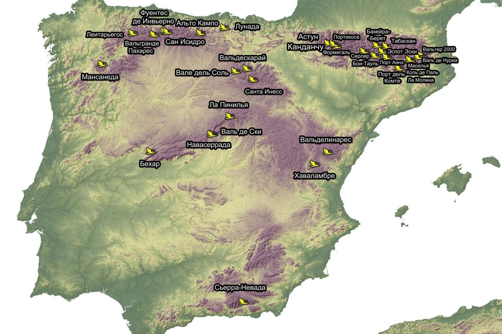 Горнолыжные курорты Испании на карте