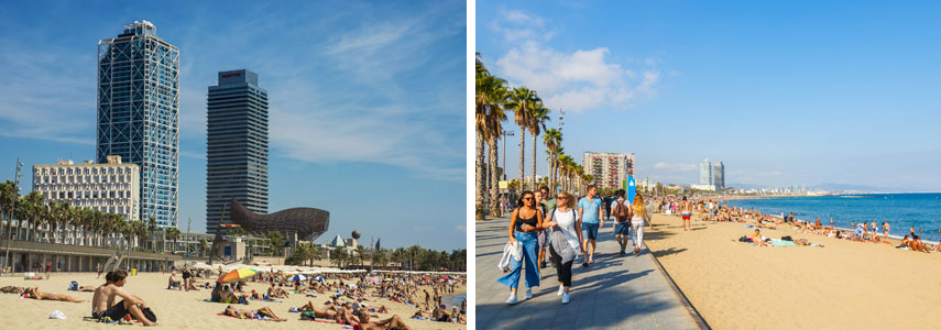 Пляж Барселонета для молодежи и активных людей.