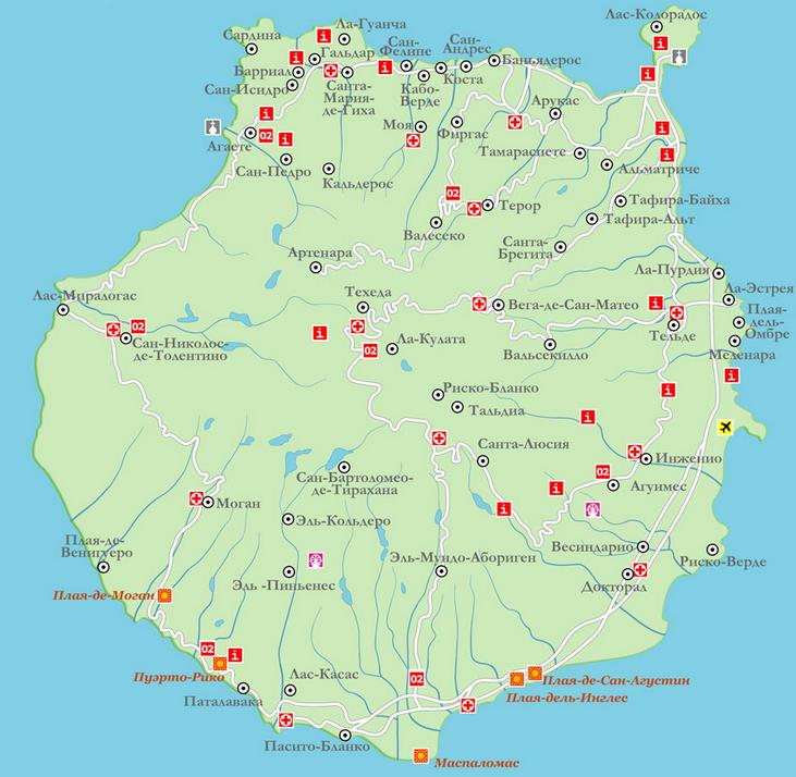 Карта Гран-Канарии с пляжами фото