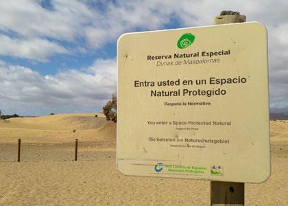 Табличка на пляже Maspalomas