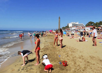 Вид на пляже Гран-Канарии