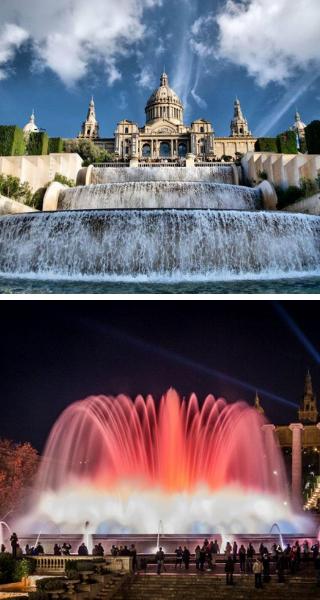 Замок на холме Монжуик и Магический фонтан Монжуика