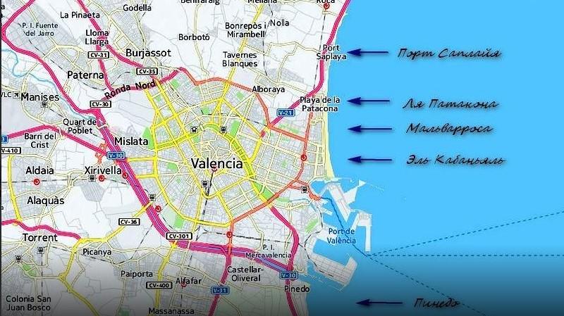 Карта пляжей, лучшие курорты Валенсии