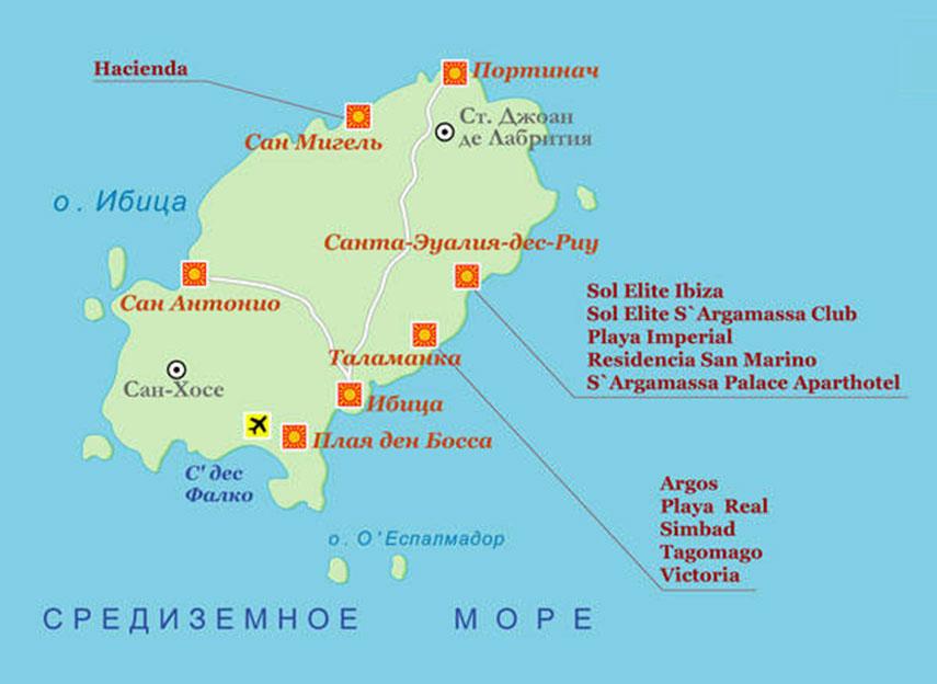 Пляжи на карте