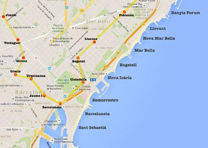 пляжи Барселоны карта