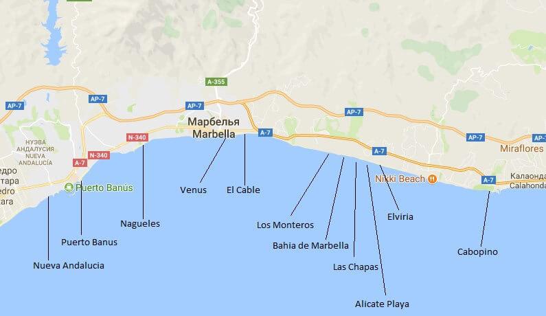 Пляжи Марбельи на карте