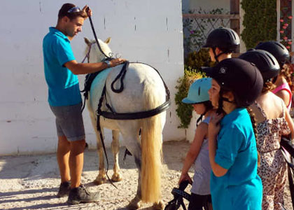 Обучение детей в центре верховой езды Hacienda Horses