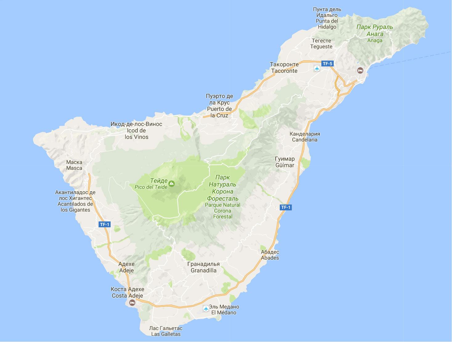 Бухты Тенерифе на карте.