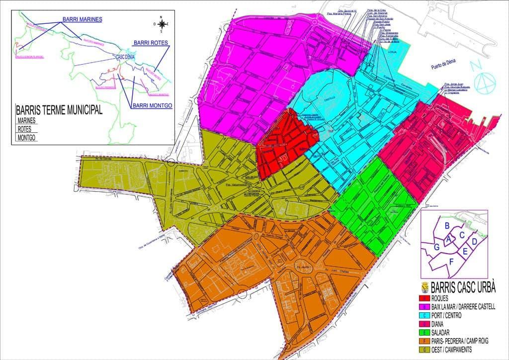 Карта районов Дении