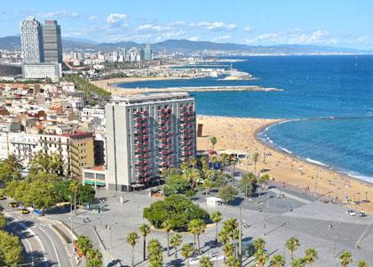 Вид на пляж Барселонета