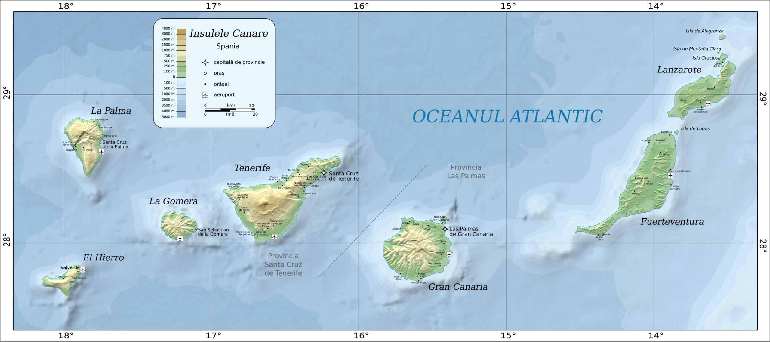 Канарский архипелаг на карте