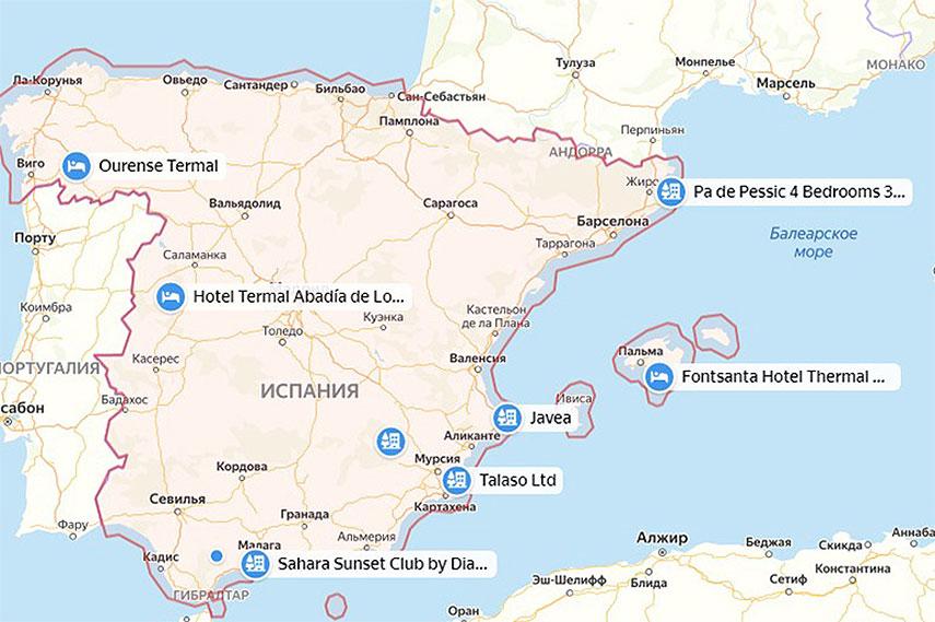 Карта термальных источников Испании