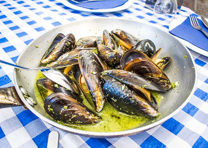 Мидии в ресторане Agua y Sal