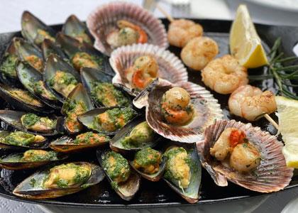 Ракушки в ресторане Delicias del Mar