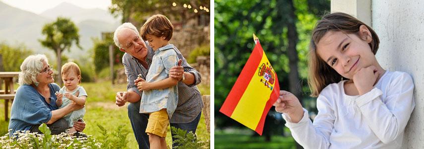 Пенсионеры и дети в Испании