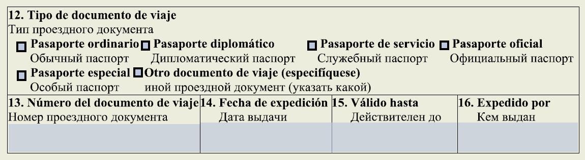 Заполнение данных о типе проездного документа