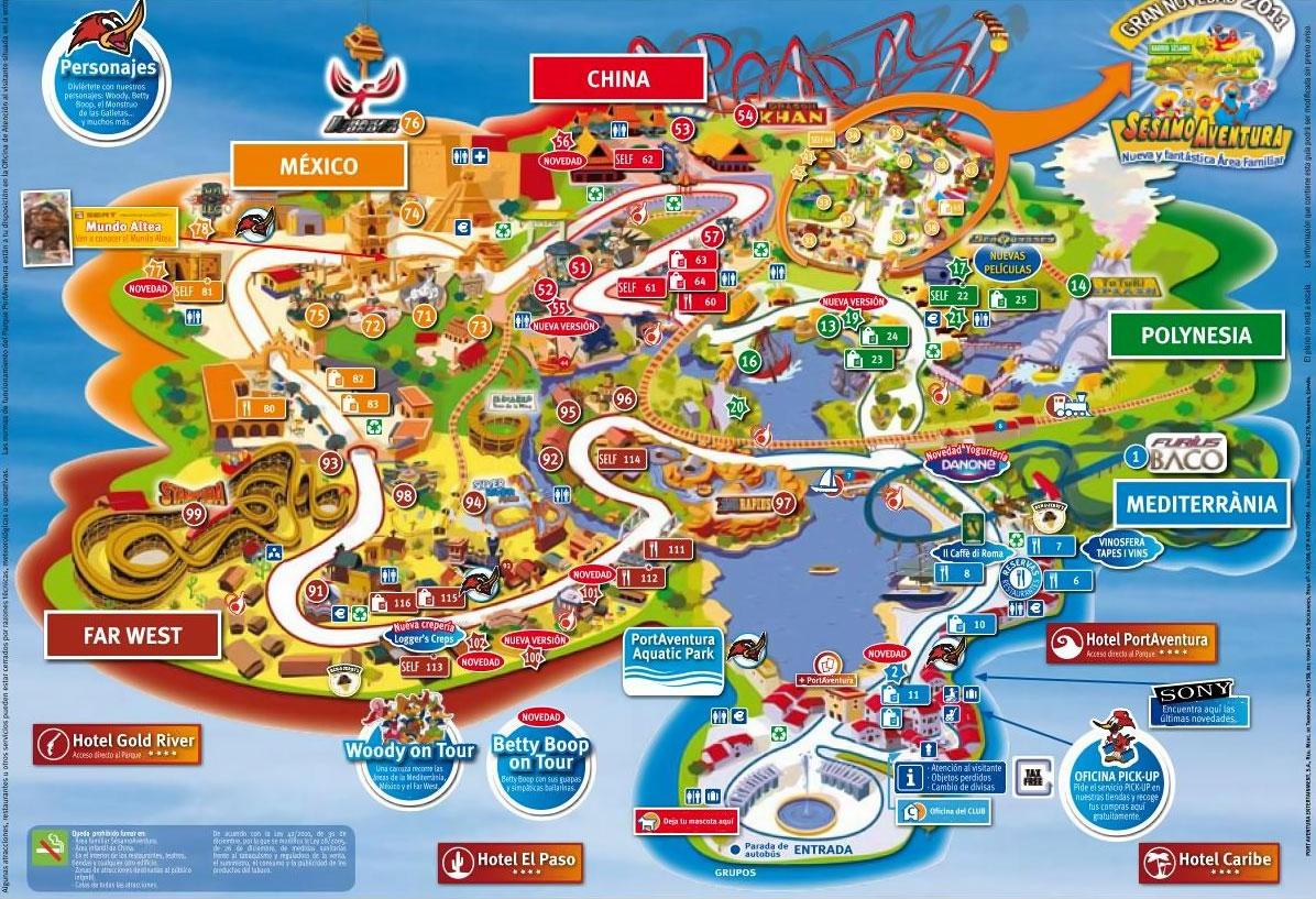 Схема парка развлечений Port Aventura